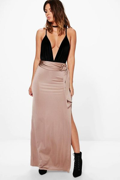 Boohoo Samira O Ring Thigh Split Full Maxi Skirt in sand - Skirts are the statement separate in every wardrobe This...