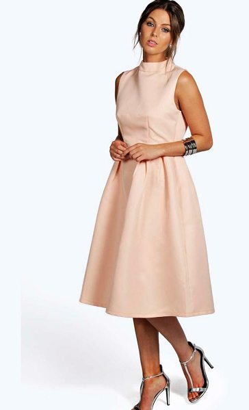Boohoo Boutique High Neck Prom Dress in nude
