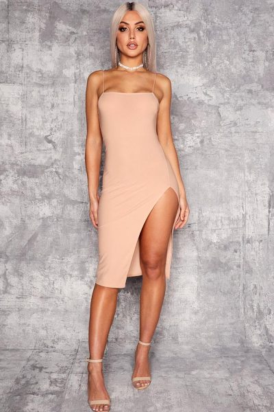 Boohoo Strappy Square Neck Thigh Split Midi Dress in stone - Dresses are the most-wanted wardrobe item for...