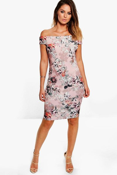 Boohoo Sandra Floral Print Bardot Midi Dress in dusky pink - Dresses are the most-wanted wardrobe item for...