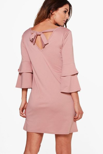 Boohoo Sara Frill Sleeve Tie Back Dress in rose - Dresses are the most-wanted wardrobe item for...