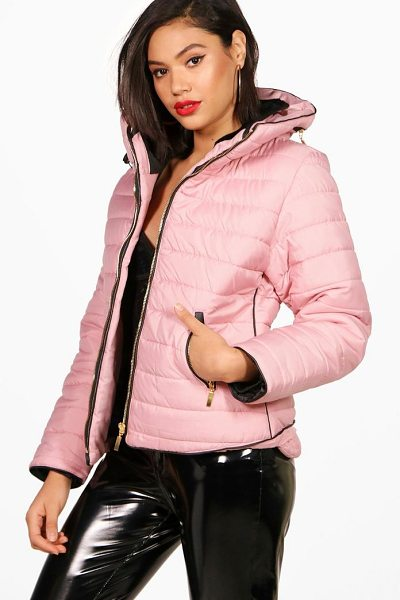 Boohoo Sara Quilted Jacket in rose - Wrap up in the latest coats and jackets and get...