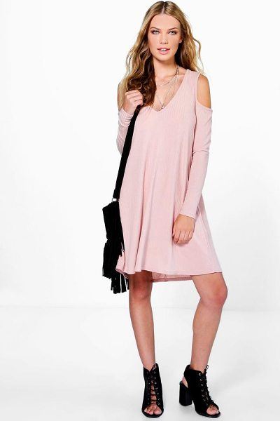 Boohoo Sara V Neck Cold Shoulder Rib Knit Swing Dress in blush - Pared back day dresses are the perfect base for layering...