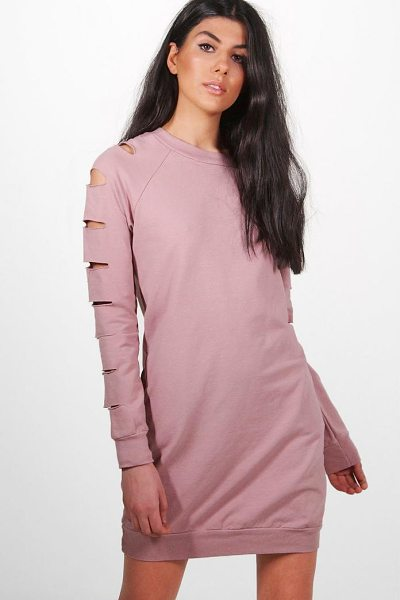Boohoo Sarah Cut Sleeve Distressed Sweat Dress in blush - Dresses are the most-wanted wardrobe item for...