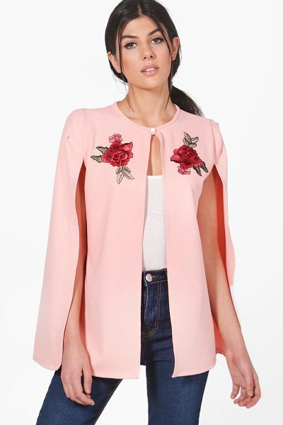 Boohoo Sarah Embroidered Cape in nude - Wrap up in the latest coats and jackets and get...