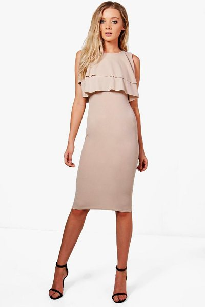 Boohoo Midi Ruffle Dress in nude - Dresses are the most-wanted wardrobe item for...