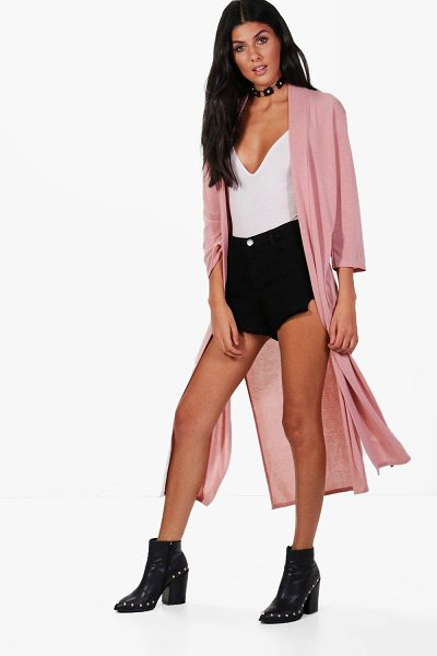 Boohoo Sarah Side Split Midi Cardigan in blush - Nail new season knitwear in the jumpers and cardigans...