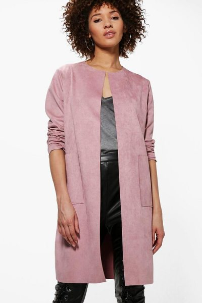 Boohoo Sarah Suedette Edge To Edge Jacket in nude - Wrap up in the latest coats and jackets and get...