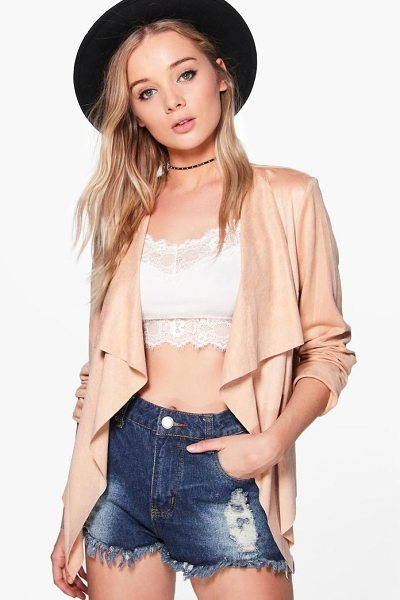 Boohoo Sarah Suedette Waterfall Jacket in beige - Wrap up in the latest coats and jackets and get...