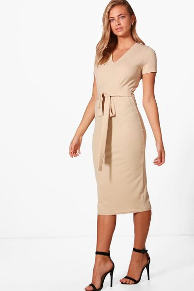 Boohoo Sarah V-Neck Tie Waist Fitted Dress in stone - Dresses are the most-wanted wardrobe item for...