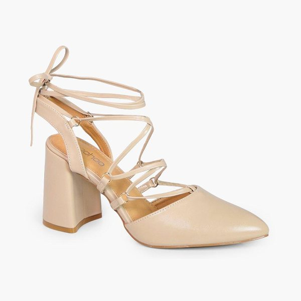 Boohoo Sarah Wrap Up Sling Back Court Shoe in nude - Sarah Wrap Up Sling Back Court Shoe nude