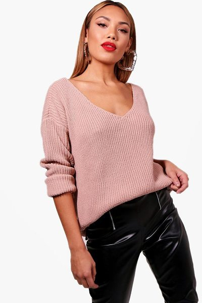 BOOHOO Oversized V Neck Jumper in nude - Nail new season knitwear in the jumpers and cardigans...