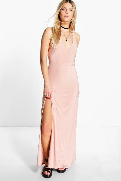 Boohoo Sasha Racer Back Strappy Maxi Dress in nude - Full-on fashion starts with a floor-sweeping maxi...