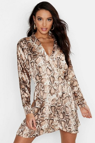 Boohoo Satin Snake Print Wrap Dress in nude - Dresses are the most-wanted wardrobe item for...