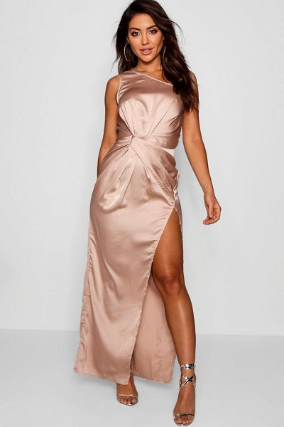 Boohoo Satin Twist Detail Maxi Dress in champagne - Dresses are the most-wanted wardrobe item for...