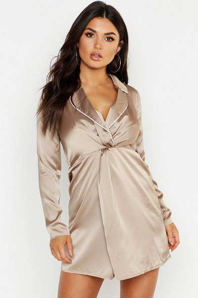 Boohoo Satin Twist Front Piping Detail Dress in champagne