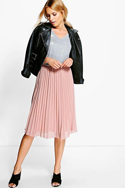 Boohoo Chiffon Pleated Midi Skirt in sand - We're all about bringing you fun and flattering shapes...