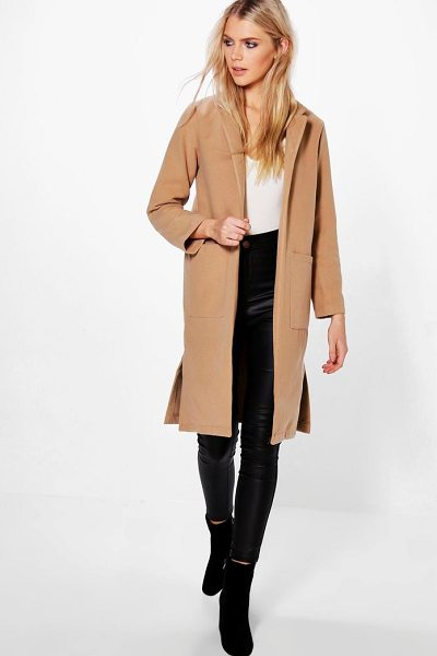 Boohoo Savannah Wool Look Coat With Pockets in camel - Wrap up in the latest coats and jackets and get...