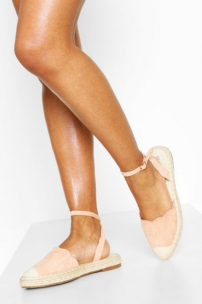 Boohoo Scallop Edge Pointed Espadrilles in blush