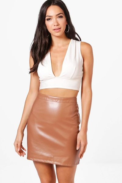 Boohoo A Line Leather Look Mini Skirt in tan - Skirts are the statement separate in every wardrobe This...
