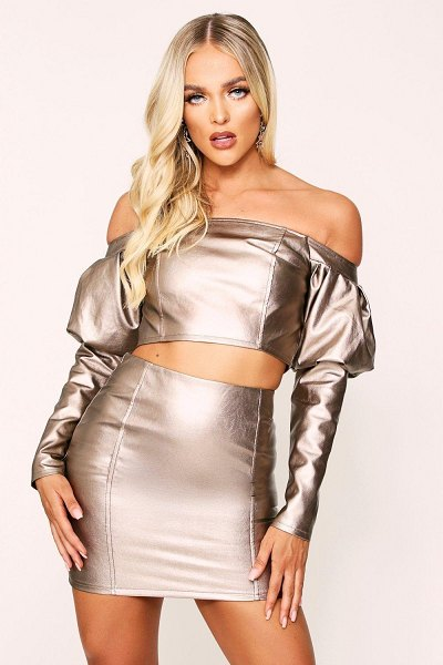 Boohoo Seam Detail Faux Leather Skirt in bronze