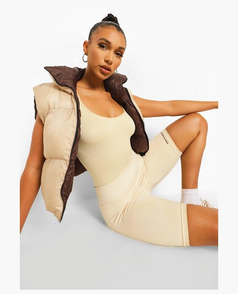 Boohoo Second Skin Brushed Scoop One Piece in nude