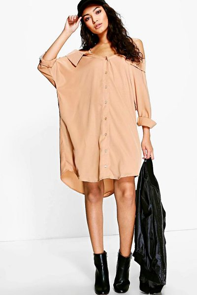 Boohoo Cold Shoulder Collar Shirt Dress in tan - Dresses are the most-wanted wardrobe item for...