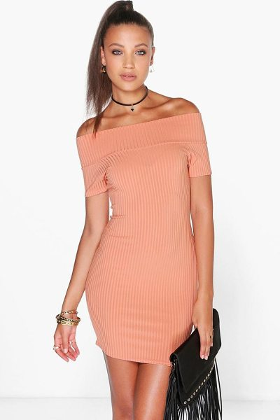 Boohoo Selena Off Shoulder Ribbed Mini Bodycon Dress in apricot - Dresses are the most-wanted wardrobe item for...