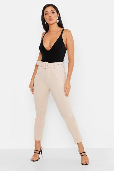Boohoo Self Belt Tailored Pants in stone