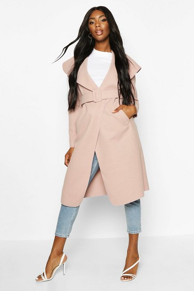 Boohoo Self Fabric Buckle Belted Wool Look Coat in dusky pink