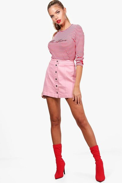 Boohoo Button Through Denim Mini Skirt in pink - Skirts are the statement separate in every wardrobe This...