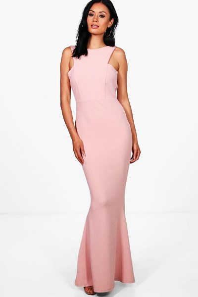 Boohoo Sena Cutaway Neckline Fishtail Maxi Dress in blush - Dresses are the most-wanted wardrobe item for...