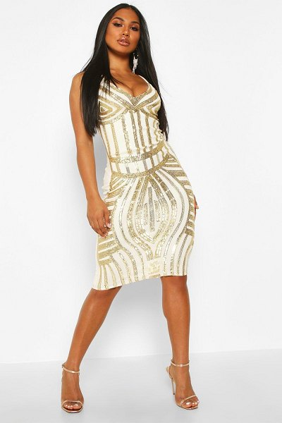 Boohoo Sequin Panelled Midi Dress in gold
