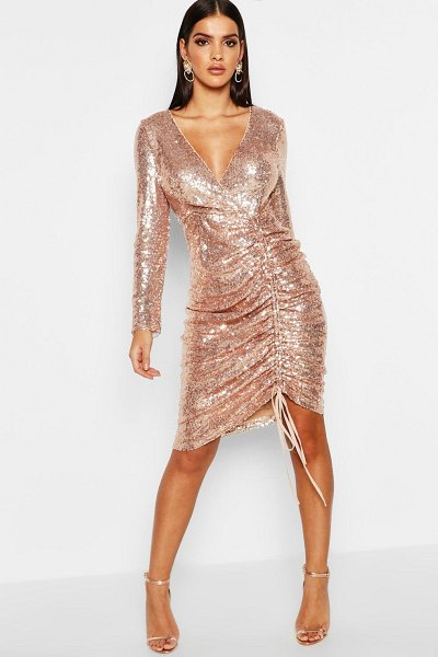 Boohoo Sequin Plunge Neck Ruched Midi Dress in rose