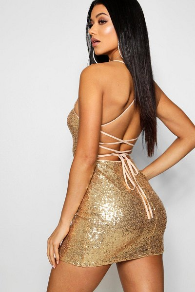 Boohoo Sequin Strappy Back Bodycon Dress in gold