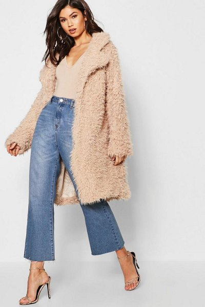Boohoo Shaggy Faux Fur Look Coat in stone - Wrap up in the latest coats and jackets and get...