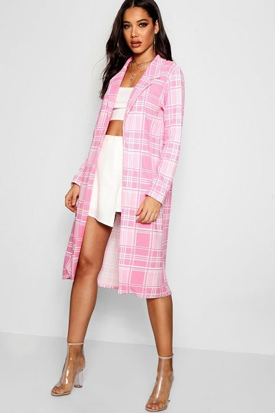 Boohoo Check Collared Duster Jacket in pink