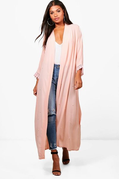 Boohoo Shannon Pearl Embellished Belted Duster in nude - Wrap up in the latest coats and jackets and get...
