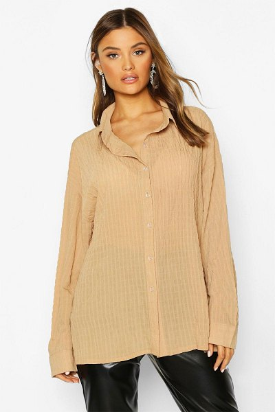 Boohoo Shirred Oversized Shirt in camel