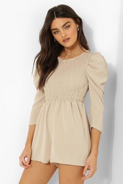 Boohoo Shirred Volume Sleeve Romper in beige