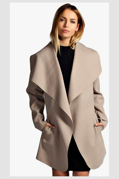 Boohoo Short Belted Waterfall Coat in stone