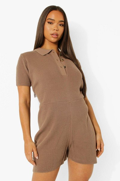 Boohoo Short Sleeve Knitted Romper in taupe