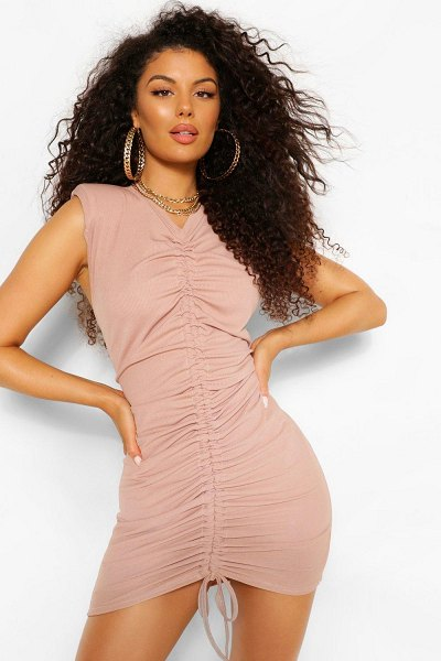 Boohoo Shoulder Pad Rouched Rib T-Shirt Dress in stone