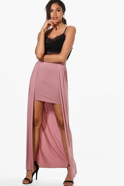 Boohoo Shreya Basic Jersey Overlay Maxi Skirt in rose