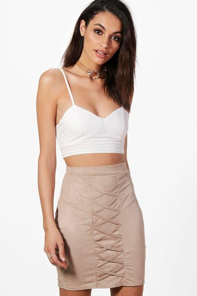 Boohoo Suedette Lace Up Mini Skirt in sand - Skirts are the statement separate in every wardrobe This...