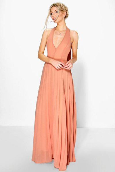 Boohoo Chiffon Pleated Plunge Maxi Dress in apricot - Dresses are the most-wanted wardrobe item for...