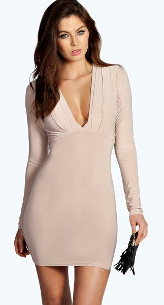 BOOHOO Silvia Plunge Neck Bodycon Dress - Dresses are the most-wanted wardrobe item for...