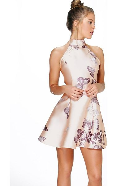 Boohoo Sateen Butterfly Print Fit and Flare Dress in blush - Dresses are the most-wanted wardrobe item for...