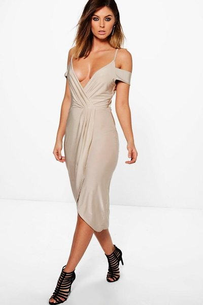 Boohoo Sky Slinky Cold Shoulder Wrap Detail Midi Dress in champagne - Dresses are the most-wanted wardrobe item for...