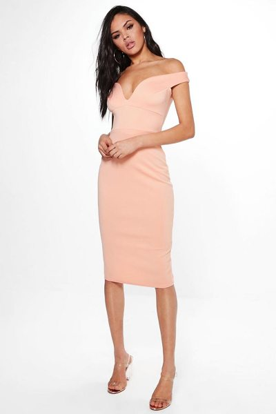 Boohoo Skye Sweatheart Off Shoulder Bodycon Dress in apricot - Dresses are the most-wanted wardrobe item for...
